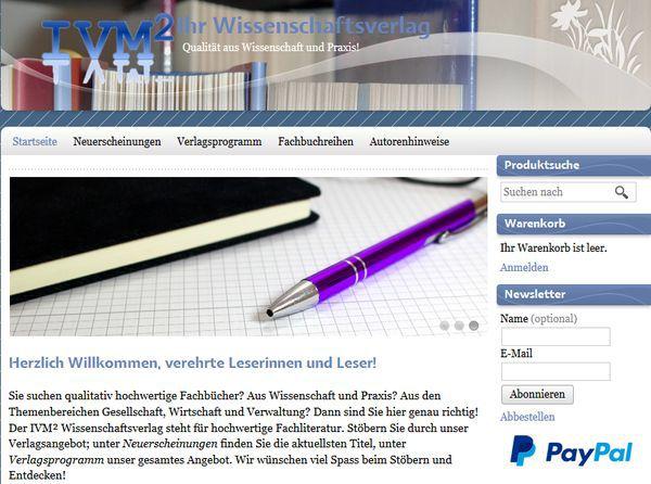 Screenshot der Startseite des Verlags